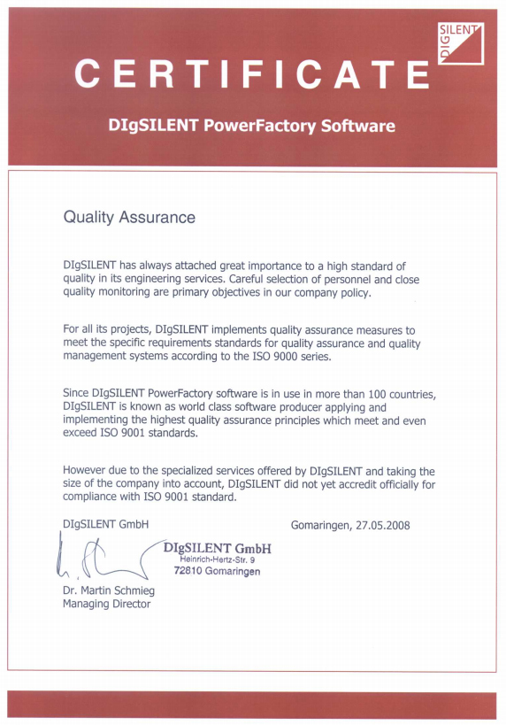 DSM Quality assurence certificate